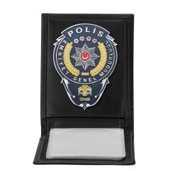 Anı Yüzük - Emniyet Genel Müdürlüğü Polis Rozetli Yatay Kartlık Cüzdan Siyah