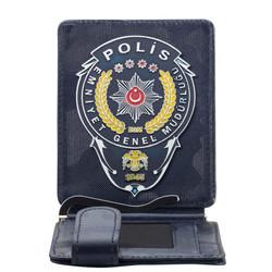 Anı Yüzük - Emniyet Genel Müdürlüğü Polis Rozetli Para Tokalı Kartlık Cüzdan Kamuflaj Lacivert