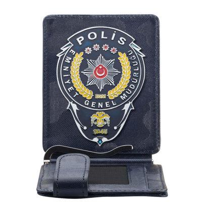 Emniyet Genel Müdürlüğü Polis Rozetli Para Tokalı Kartlık Cüzdan Kamuflaj Lacivert