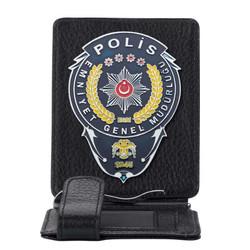Anı Yüzük - Emniyet Genel Müdürlüğü Polis Rozetli Para Tokalı Kartlık Cüzdan Siyah