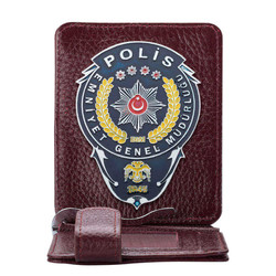 Anı Yüzük - Emniyet Genel Müdürlüğü Polis Rozetli Para Tokalı Kartlık Cüzdan Bordo