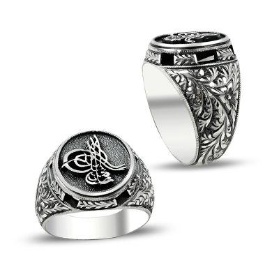 Erzurum El İşçiliği Tuğralı Gümüş Yüzük