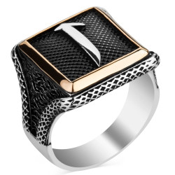 Anı Yüzük - Elif Motifli Kare Tasarım Erkek Gümüş Yüzüğü