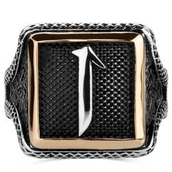 Elif Motifli Kare Tasarım Erkek Gümüş Yüzüğü - Thumbnail