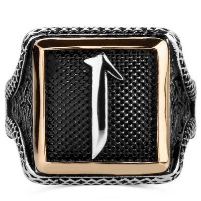 Elif Motifli Kare Tasarım Erkek Gümüş Yüzüğü