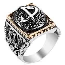 Anı Yüzük - Elif Vav Figürlü Taşsız Gümüş Erkek Yüzüğü