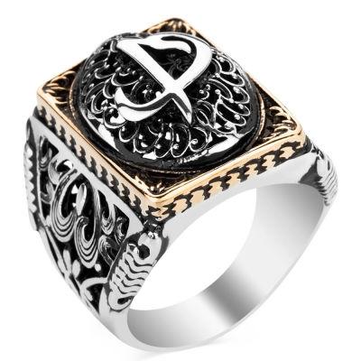 Elif Vav Figürlü Taşsız Gümüş Erkek Yüzüğü