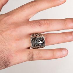 Elif Vav Figürlü Taşsız Gümüş Erkek Yüzüğü - Thumbnail