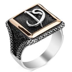 Anı Yüzük - Elif-Vav Motifli Kare Tasarım Erkek Gümüş Yüzüğü