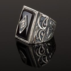 Erzurum El İşçiliği Gümüş Siyah Taşlı Yüzük - Thumbnail