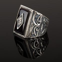 Anı Yüzük - Erzurum El İşçiliği Gümüş Siyah Taşlı Yüzük
