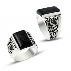 Erzurum El İşçiliği Siyah Taşlı Gümüş Yüzük - Thumbnail