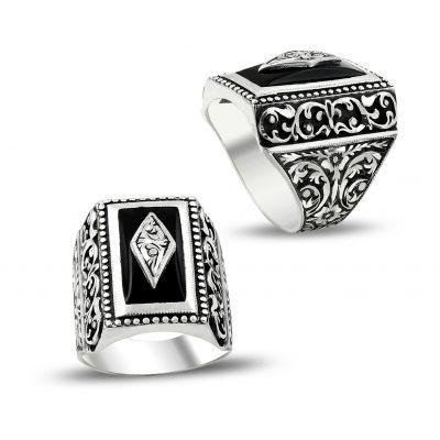 Erzurum El İşçiliği Siyah Mineli Gümüş Yüzük