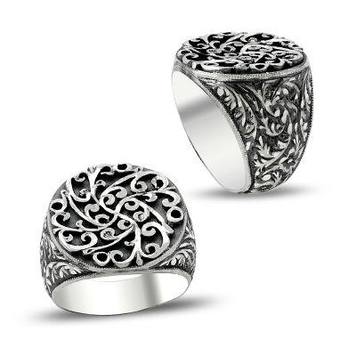 Erzurum El İşi Kalem İşçilikli Gümüş Erkek Yüzüğü