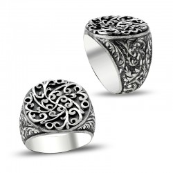 Erzurum El İşi Kalem İşçilikli Gümüş Erkek Yüzüğü - Thumbnail
