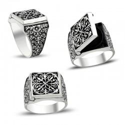 Erzurum El İşi Kalem İşçilikli Kapaklı Gümüş Yüzük - Thumbnail