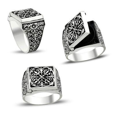 Erzurum El İşi Kalem İşçilikli Kapaklı Gümüş Yüzük