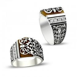 Erzurum El İşi Kalem İşçilikli Sıkma Kehribar Gümüş Yüzük - Thumbnail