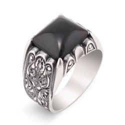 Erzurum El İşi Siyah Oniks Taş Gümüş Yüzük - Thumbnail