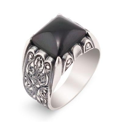 Erzurum El İşi Siyah Oniks Taş Gümüş Yüzük