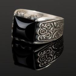Anı Yüzük - Erzurum El İşi Siyah Oniks Taş Gümüş Yüzük