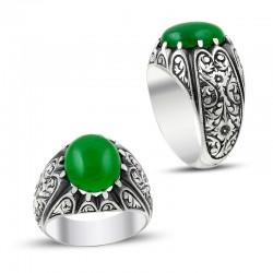 Erzurum El İşi Yeşil Ateş Kehribar Gümüş Yüzük - Thumbnail