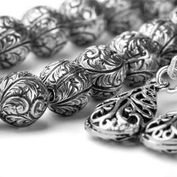 Erzurum Kakma El İşi Çift Püsküllü Gümüş Tesbih - Thumbnail