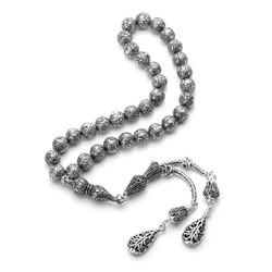 Anı Yüzük - Erzurum Kakma El İşi Çift Püsküllü Gümüş Tesbih