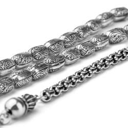 Erzurum Kakma El İşi Kapsül Kesim Gümüş Tesbih - Thumbnail