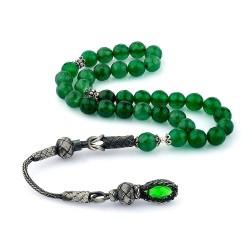Fasetalı Yeşil Renk Akik Taşlı 1000 Ayar Kazaz Püsküllü Tesbih - Thumbnail
