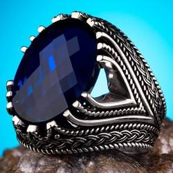 Anı Yüzük - Fasetalı Zirkon Mavi Taşlı Gümüş Erkek Yüzük