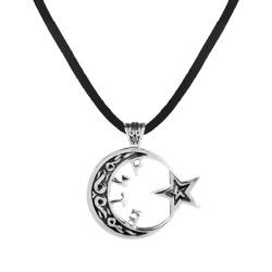 Ay Yıldızlı Göktürk Gümüş Kolye - Thumbnail