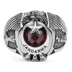 Tek Kartal Başlı Göktürkçe Türk Yazılı Jandarma Yüzüğü - Thumbnail