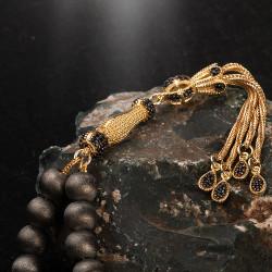 Gold Gri Mat Gümüş Tesbih - Thumbnail
