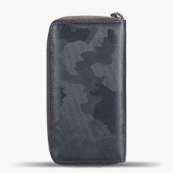 Gri Kamuflaj Desen Fermuarlı Unisex Kartlık Cüzdan - Thumbnail