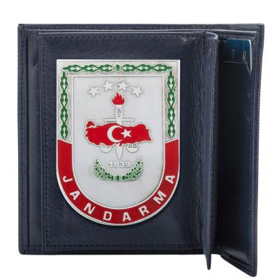 Gri Renk Jandarma 1839 Rozetli Klasik Cüzdan Kamuflaj Desen