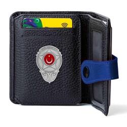 Anı Yüzük - Gri Renk Yeni Özel Güvenlik Mini Rozetli Cosmopolit Klasik Cüzdan Siyah-Mavi