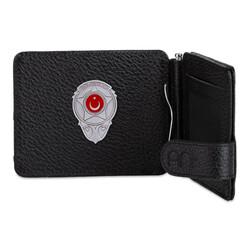 Anı Yüzük - Gri Renk Yeni Özel Güvenlik Mini Rozetli Para Tokalı Kartlık Cüzdan Siyah