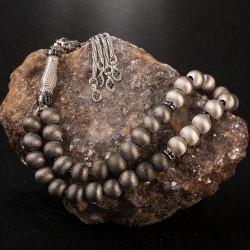 Gri Tonları Mat Gümüş Tesbih - Thumbnail