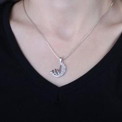 Allah Yazılı Hilalli Gümüş Bayan Kolye - Thumbnail