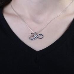 Gümüş Bayan Kalpli Sonsuzluk Kolyesi - Thumbnail