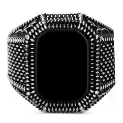 925 Ayar Gümüş Dörtgen Siyah Oniks Taşlı Erkek Yüzük - Thumbnail