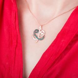 Gümüş Elif Vav Bayan Kolye - Thumbnail