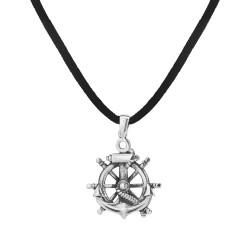 Anı Yüzük - Gemi Dümeni Gümüş Erkek Kolye