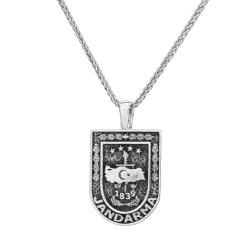 Gümüş Jandarma Erkek Kolye - Thumbnail