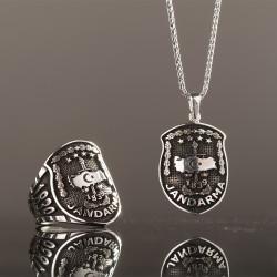Anı Yüzük - Gümüş Jandarma Kolye ve Yüzük Kombini