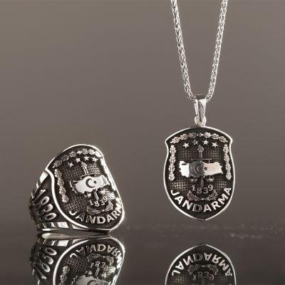 Gümüş Jandarma Kolye ve Yüzük Kombini