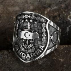 Gümüş Jandarma Kolye ve Yüzük Kombini - Thumbnail