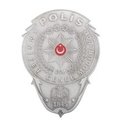 Gümüş Renk Polis Cüzdan Rozeti - Thumbnail