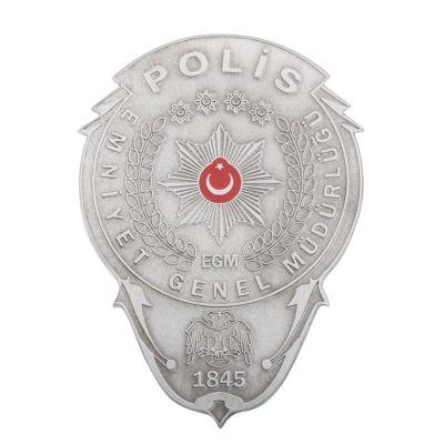 Gümüş Kaplamalı Polis Cüzdan Rozeti